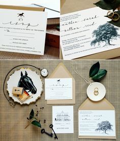 Rustic inspired wedding invitations - oak trees. Maybe instead have pohutakawa or Magnolia?