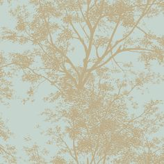 Copper Teal Ap7506 Tree Silhouette Wallpaper By York