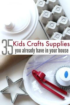35 everyday items you can use for frugal kids craft supplies. Fun Crafts For Kids, Diy Arts And Crafts, Toddler Crafts, Projects For Kids, Crafts To Make, Art For Kids, Project Ideas, Kid Art, Paper Crafts