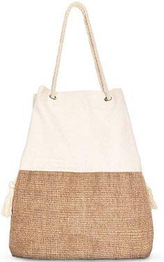 BEACH TOWEL ECT $27.99 : Large Beach Bag - Canvas and Jute Shoulder Bag (Beige): Clothing