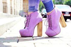 Purple Platform ChunkyHeels Boots Lace Up