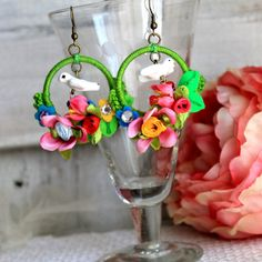Bird colorful flowers big hoop spring summer by GataValquiria