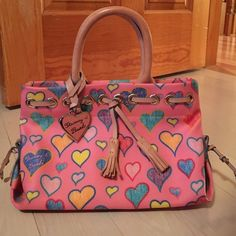 Authentic Dooney and Bourke purse 3.5 x 6.5 x 9.5 in. Pink with hearts mini purse Dooney & Bourke Bags Mini Bags