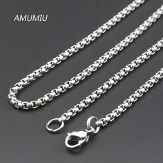 AMUMIU Promotion !  40/45/50/55/60/65/70cm,3mm Width 316L Stainless Steel For Women Men Fashion Chains Necklace KN002 >>> Visit the image link more details.