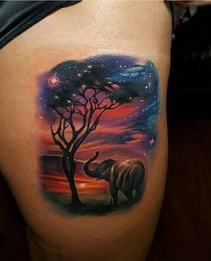Perfect 3 colors realistic tattoo style of Sunset in Africa motive done by tattoo artist Tyler Malek Neue Tattoos, Body Art Tattoos, Small Tattoos, Sleeve Tattoos, Galaxy Tattoo Sleeve, Watercolor Elephant Tattoos, Elephant Tattoo Design, Tattoo Elephant, Colorful Elephant Tattoo