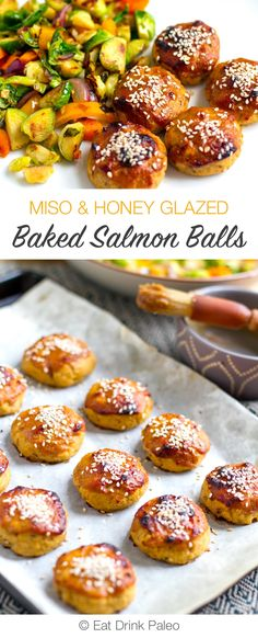 Miso & Honey Glazed Baked Salmon Balls - paleo, gluten-free, low carb and nutritious. Served with stir-fried vegetables.
