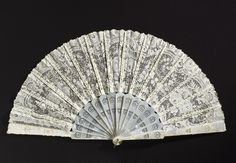 Folding Fan with Box: ca. 1880, French, cotton lace, bone, mother-of-pearl, metal.