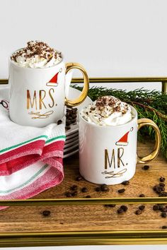Ceramic Gold Mr. and Mrs. Santa Hat Mug Set