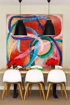 colorful casual dining | abstract painting by Ildiko Kovacs | Gubi chairs | Caravaggio pendant lighting | Arent&Pyke: Belle Mirvac