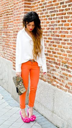 love the hair and the orange pants but that hair...