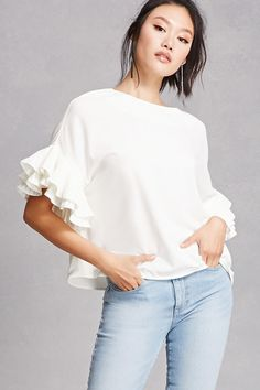 FOREVER 21+ Ruffle Sleeve Top