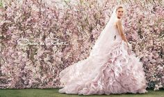 Pink Oscar de la Renta gown #weddings #gowns