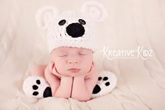 Baby Boy Hat POLAR BEAR Newborn Baby Boy or por JerribeccaHats2