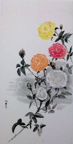 Rosa en Sumi-E