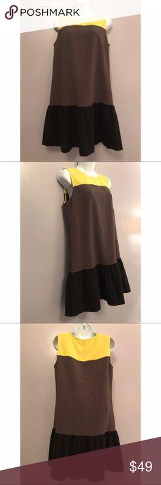 {LOFT} Color Block Sundress with Ruffle Hem Adorable color block sleeveless dress with ruffle hem. LOFT Dresses