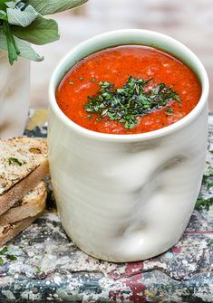 Roasted Tomato and Red Pepper Soup. A vegan and gluten free Roasted Tomato and Red Pepper Soup with Fresh Herbs Red Pepper Soup, Stuffed Pepper Soup, Chili Recipes, Soup Recipes, Vegan Recipes, Recipies, Free Recipes, Sauces, Vegan Soups