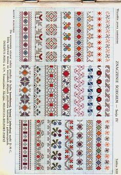 2 Colour Carrier Bead Patterns, Odd Count Peyote, Two-Colour Patterns, Full Word Charts, Red and White - Her Crochet Cross Stitch Boarders, Cross Stitch Bookmarks, Cross Stitch Flowers, Cross Stitch Designs, Cross Stitching, Cross Stitch Patterns, Blackwork Embroidery, Folk Embroidery, Cross Stitch Embroidery