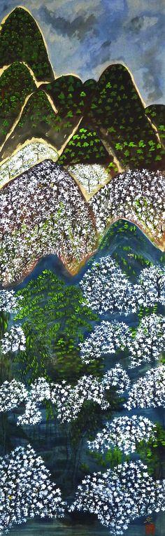 Kayama Matazo 1927 2004 Arashiyama Cherry Blossoms Japanese PaintingJapanese