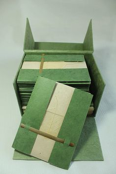 Dibesh of Boston - Lokta-Paper-Invitations held down with a sliver of bamboo, and a skeleton leaf as decoration Box Invitations, Invitation Paper, Diy Paper, Paper Crafts, Bodhi Leaf, Leaf Cards, Eco Friendly Paper, Party In A Box, Paper Artist