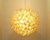 24 Inch gold stars on yellow hanging Fuzzy Lamp / Lantern