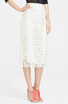 Burberry Prorsum Embroidered Lace Midi Skirt | Nordstrom