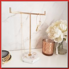 Love our Marble and Rose Gold Jewellery Stand! Marble Jewelry, Rose Gold Jewelry, Gold Jewellery, Tv Stand Minimalist, Tv Stand Luxury, Jewelry Tree Stand, Marble Furniture, Gold Home Decor, Lamps For Sale