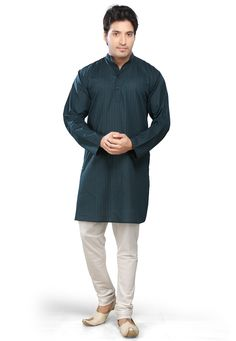 DARK TEAL BLUE COTTON READYMADE KURTA WITH CHURIDAR