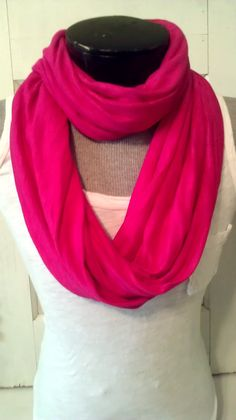 fuchsia jersey knit infinity scarf by MsFiggys on Etsy, $20.00