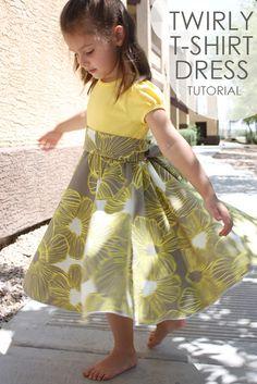 t shirt circle skirt dress tutorial