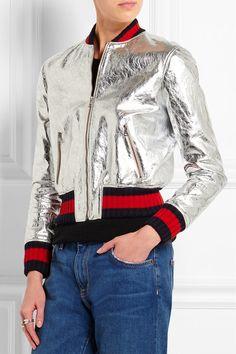 Gucci | Metallic leather bomber jacket
