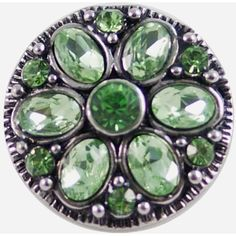 "Chunk Snap Charm Emerald Green Stones 22mm 3/4"" Diameter"