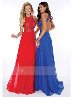 A-Line/Princess Scoop Neck Sweep Train Chiffon Prom Dress With Beaded