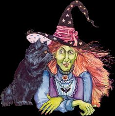 A witch and her black cat. Halloween. magic.