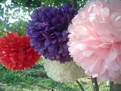 Doors Pom Pom Decorations Original Product With A Red Color Purple Pink And White Hung In The Tree For Decorating Outdoors Pom Pom Decorations Ideas