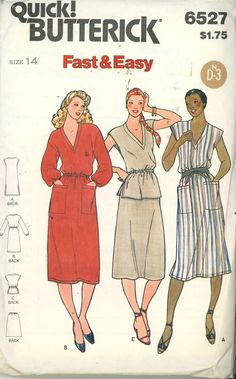 Vintage 80s Sewing Pattern, Misses Dress, Tunic & Skirt, Butterick Size 14 UNCUT - Women