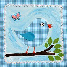 Een vogeltje ontworpen en gemaakt door Julijn. Past perfect bij het schilderij van het uiltje en het vlindertje. Ook op turquoise stof. www.julijn.nl