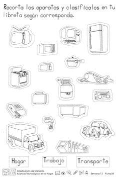 Clasificación de untensillos Avances tecnológicos en el hogar: -Recorta los aparatos y clasifícalos en tu libreta según corresponda.
