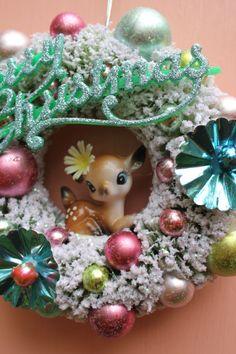 Bottle brush wreath with vintage deer