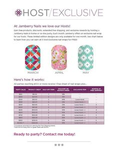 Host an online or Home party in March or April!! Get exclusive wrap designs, earn free product, and win a prize from me as an extra hostess bonus!!!  Check out my website at https://michelleteporten.jamberrynails.net/