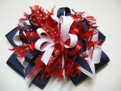 Hair Bow Red Navy Blue White Unique Big Boutique by HareBizBows, $9.00
