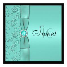 Aqua Black PRINTED RIBBON Sweet Sixteen Invite
