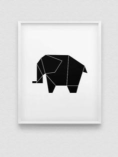 origami elephant print // black-pink-blue-white by spellandtell