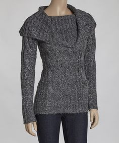 Gray Cable Knit Cowl Neck Sweater