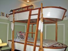 boat bunk bed in my son's room. Cool Bunk Beds, Bunk Beds With Stairs, Kids Bunk Beds, Boat Bed, Elevated Bed, Bunk Rooms, Bunk Bed Designs, Loft Spaces, How To Make Bed