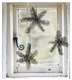 "Beautiful evergreen ""snowflakes"" for simple Christmas decor."