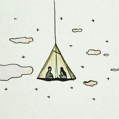 CAMP 우리끼리 할 얘기 있잖아- #캠핑 #고아웃 #텐트 #아웃도어 #라이프 #1박2일 #드로잉 #일러스트 #outdoorlife #gooutside #gooutside #camping #drawing #illustration #doodle