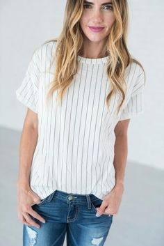 Hey batter batter! This adorable pinstripe tee is in a league of its own (see…