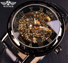 Cheap watch top, Buy Quality watch top brand directly from China watch brand Suppliers: Winner Black Gold Male Clock Men Relogios Skeleton Mens Watches Top Brand Luxury Montre Leather Wristwatch Men Mechanical Watch Patek Philippe, Cool Watches, Watches For Men, Men's Watches, Wrist Watches, Casual Watches, Popular Watches, Watches Online, Shopping