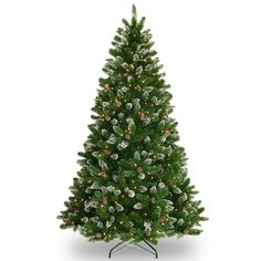 7.5-foot Crystal Spruce Tree with Glitter, Pine Cones, and 700 clear Lights (700 Clear Lights), Green