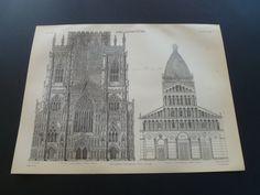 1875 old architecture print antique pictures by DecorativePrints, €11.95
